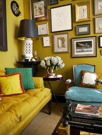 Mustard Yellow Wall with Green Sofa