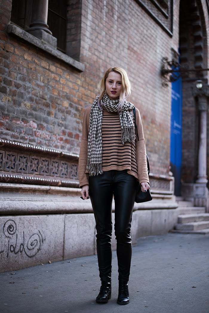 Skinny Buddha H&M stripped sweater leather pants