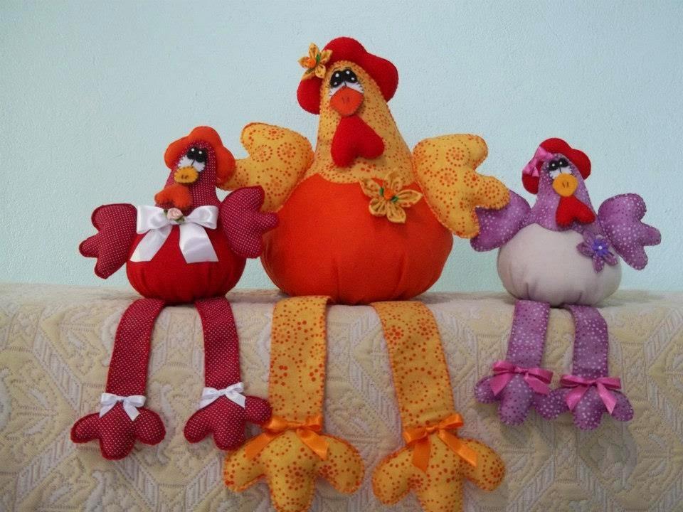 Moldes galinhas decorativas de tecido