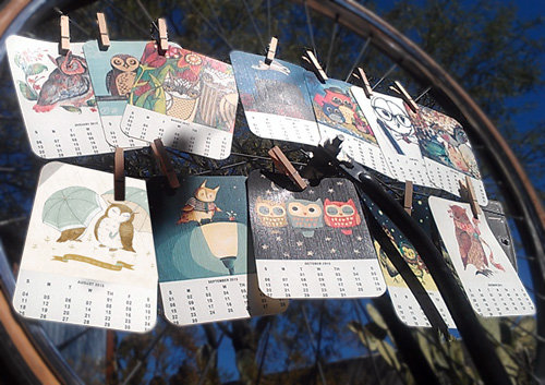 Free Printable 2013 Calendar featuring Owl Artwork from artists around the world - Customize and gift!