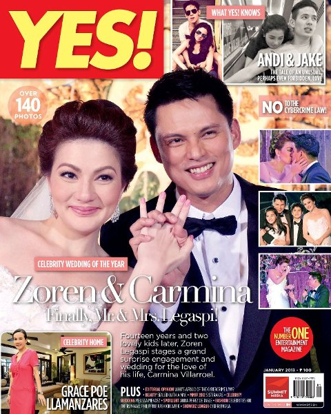 Carmina Villaroel and Zoren Legaspi Cover YES! Magazine January 2013 Issue