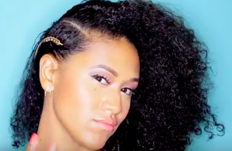 Gold Chain Curly Mixed Girl HairStyle Side View