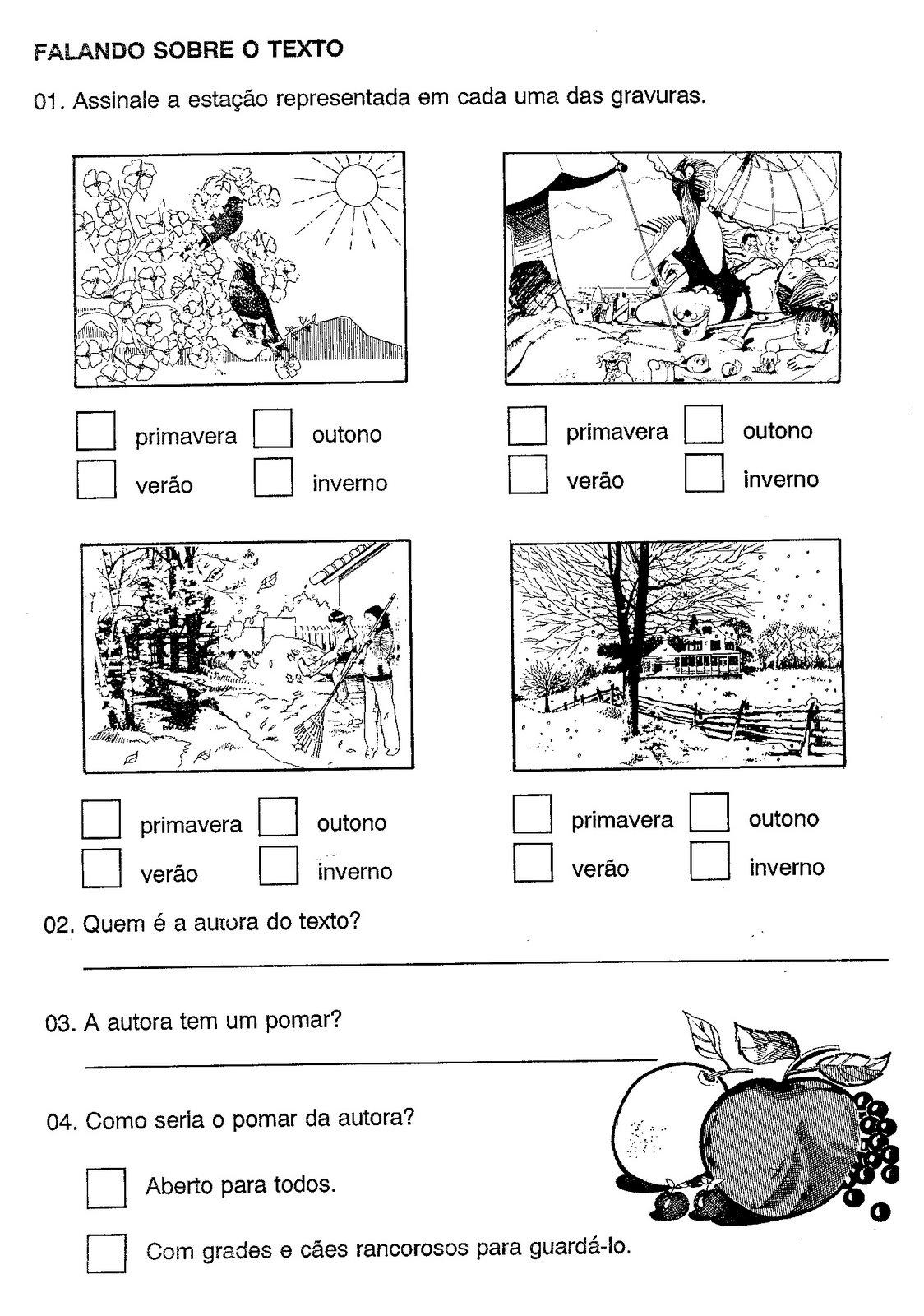 atividades alfabetizacao jardim horta pomar:TEXTO, INTRPRETAÇÃO E ATIVIDADES: O MEU POMAR – CECÍLIA MEIRELES