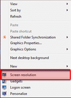 screen resolution windows 7