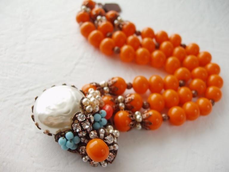 Miriam Haskell style Estonia mdmButiik Armband alte perlen glas steine schmuck Bijoux perles de verre ancienne