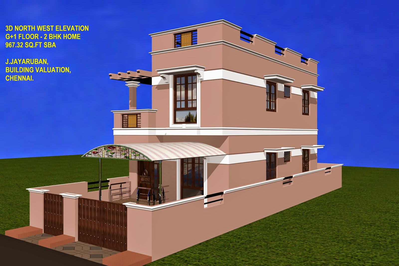 Indian residential building plan and elevation joy for Ground floor 3d elevation