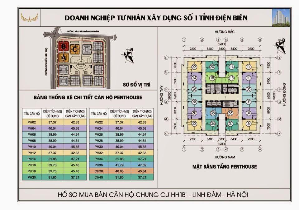 sơ đồ thiết kế căn hộ tầng penthouse chung cư hh1b linh đàm