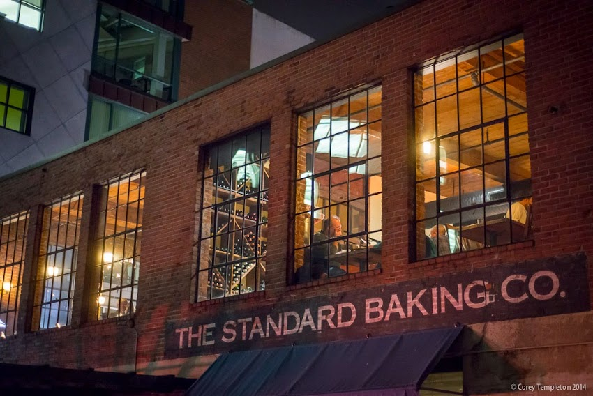 Portland, Maine USA Fore Street restaurant and Standard Baking Company at night photo by Corey Templeton