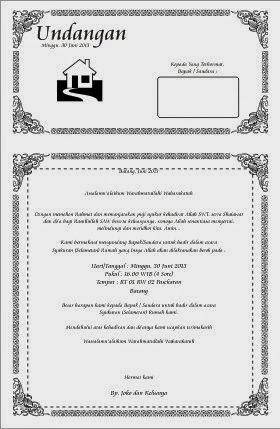 Contoh undangan selamatan menempati rumah