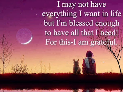 I may not have everything I want in life but I'm blessed enough to have all that I need! For this- I am grateful.