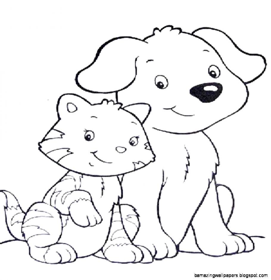 dog amp cat coloring pages   Printable Kids Colouring Pages