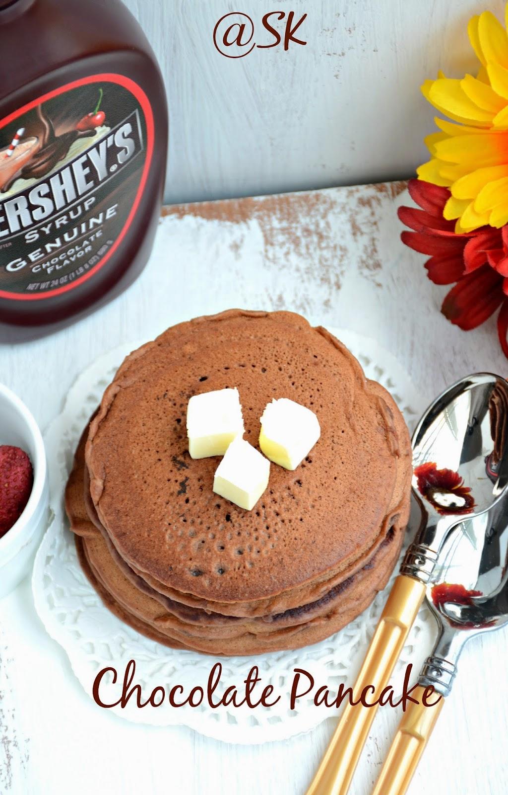 1-2-3 pancake - eggless chocolate pancake