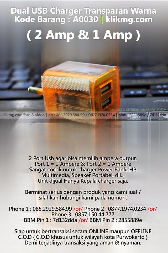 Dual USB Charger Transparan Warna - Kode Barang : A0030