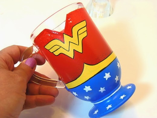 Wonder Woman Painted Coffee Mug / www.kudoskitchenbyrenee.wazala.com