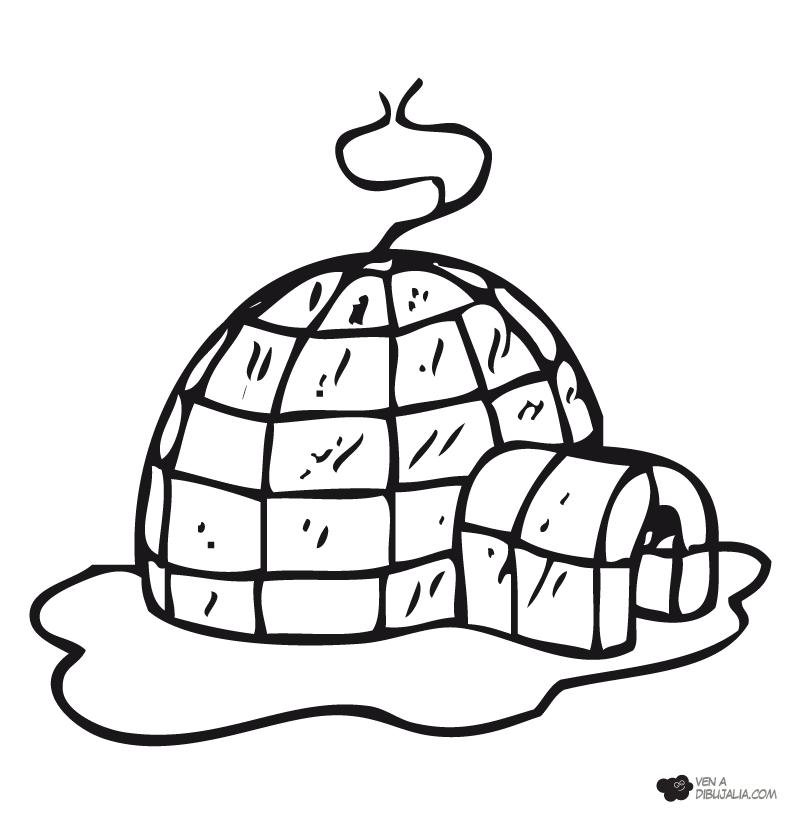 Casa iglu para pintar y colorear dibujos para colorear for Dibujo de una piedra para colorear