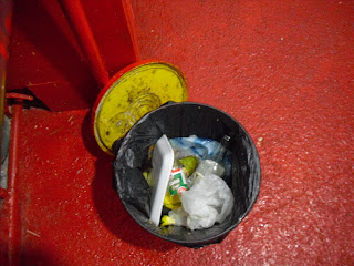 A standard household bin in a Bogotá house - everything lumped in together