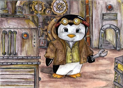Penguin Engineer steampunk drawing penguin wrench watercolor pencil