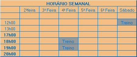 HORÁRIO DOS TREINOS