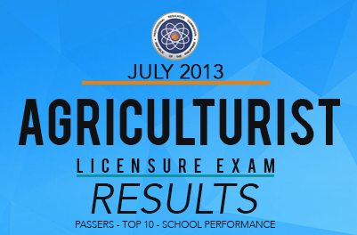 2013 Agriculturist Board Exam Results, Top Notchers,List of Passers