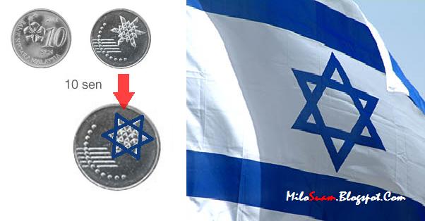 panas bendera israel pada duit syiling baru malaysia