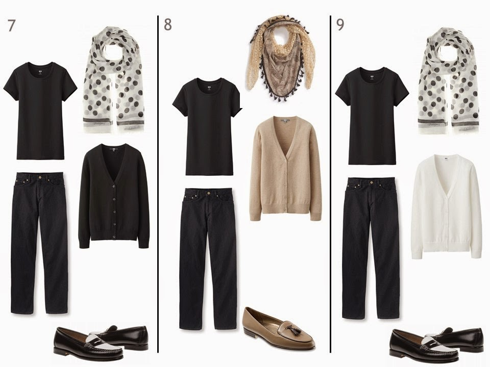 3 outfits of a black tee shirt and black jeans, each with a cardigan, scarf and loafers in black, beige or white