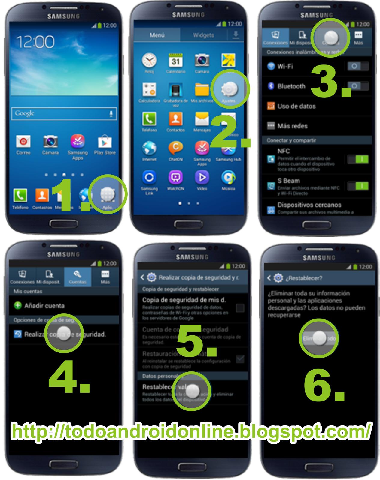 Samsung Galaxy S4 I9505, reiniciar, resetear y restablecer datos a modo fábrica