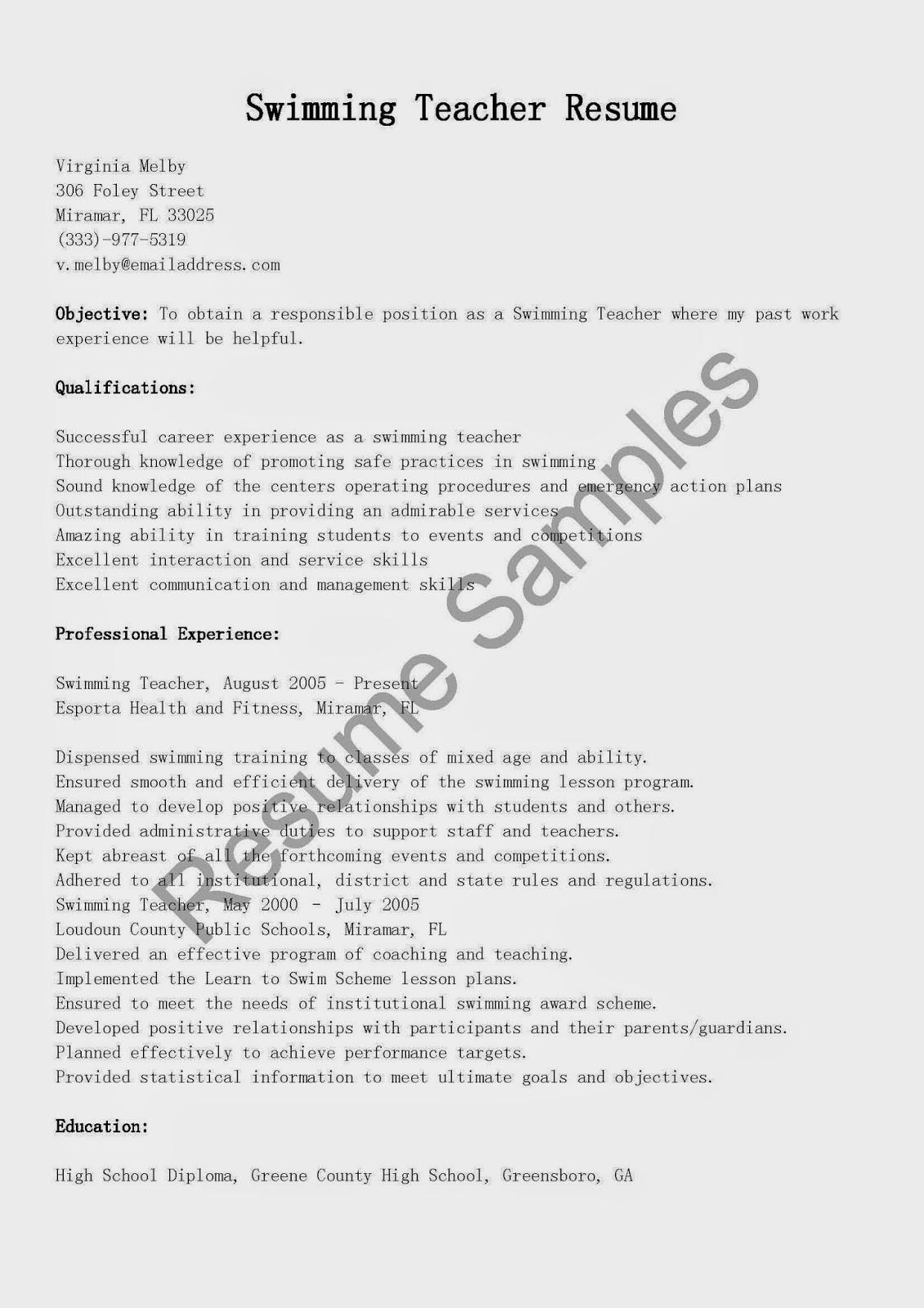 resume samples  swimming teacher resume sample