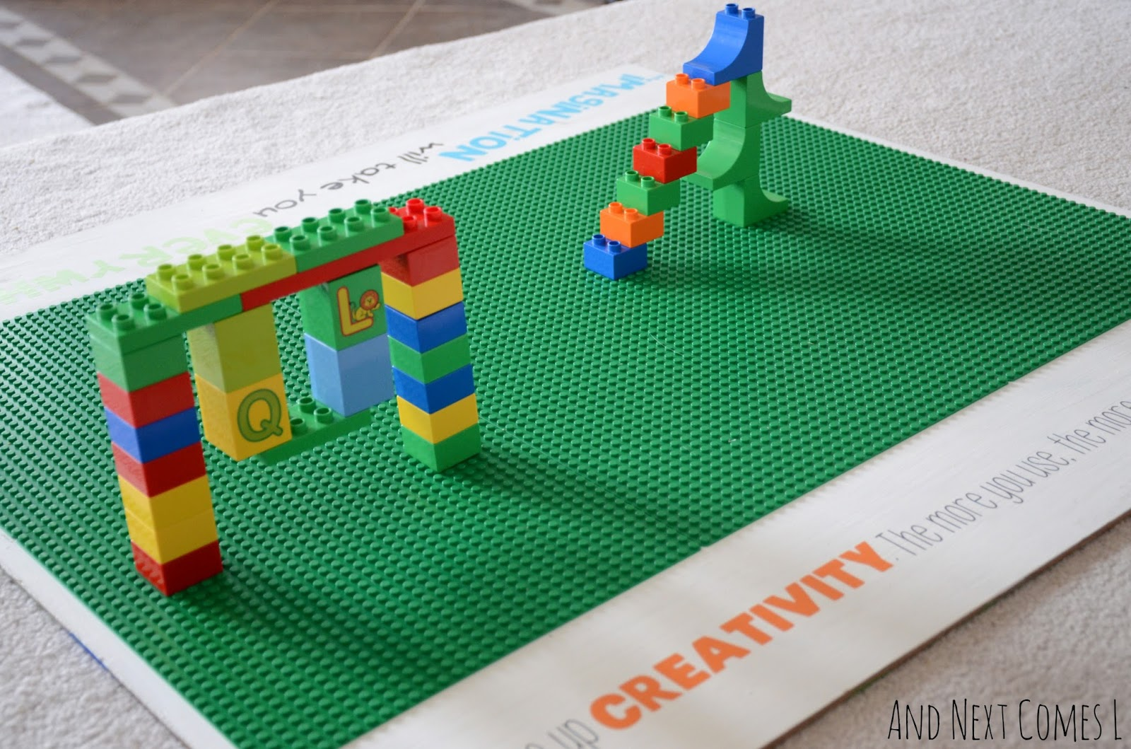 Building on a homemade Lego table from And Next Comes L
