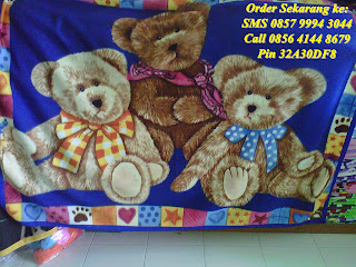 selimut anak murah beruang biru lucu imut grosir eceran