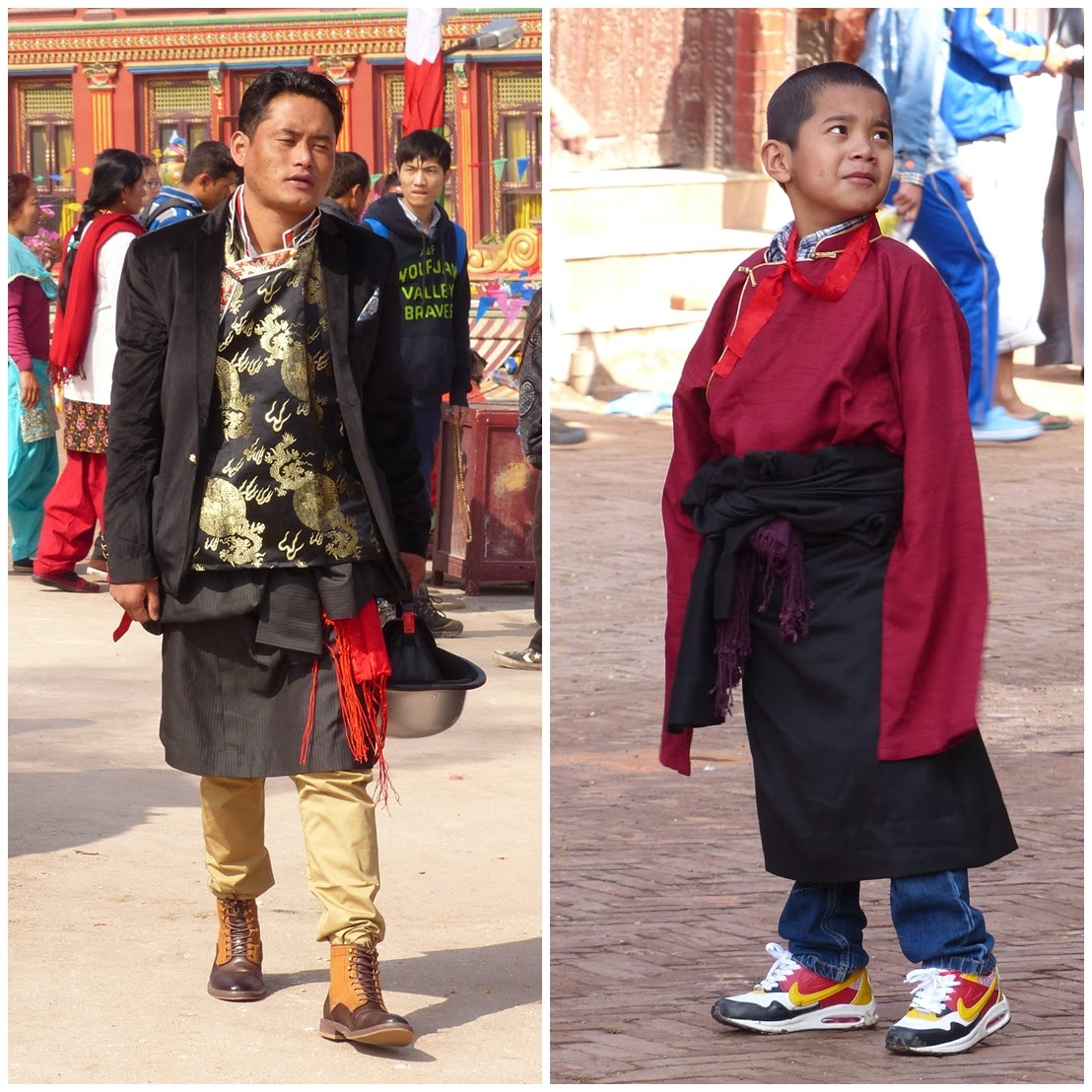 Guys in traditional Tibetan dress