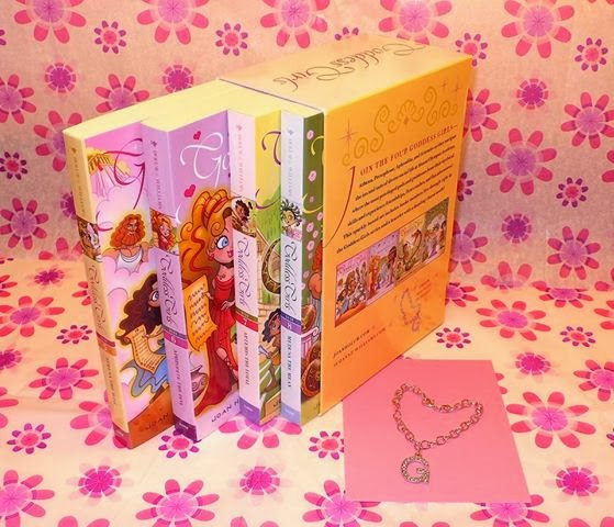 NEW! Boxed set: Goddess Girls 5-9 & glittery G bracelet