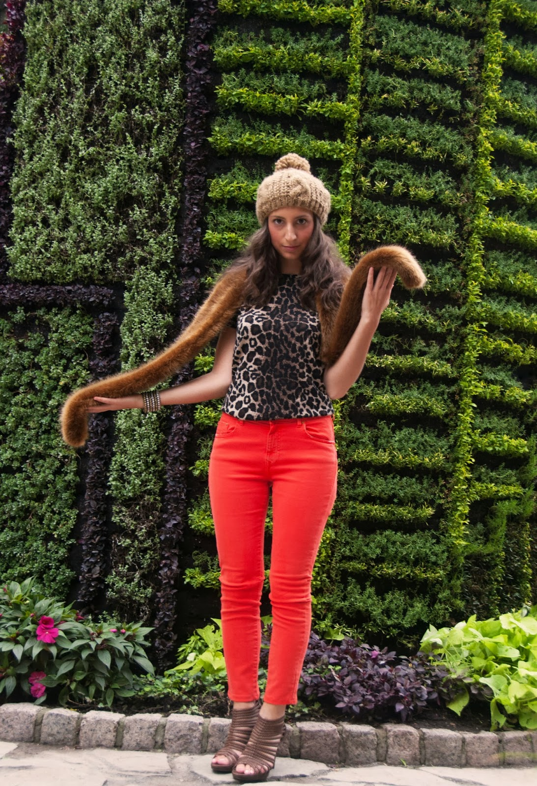 animal print leopard orange denim tuque hat fur scarf brown sandals