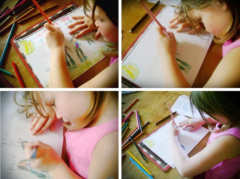 Child draws design for blog header
