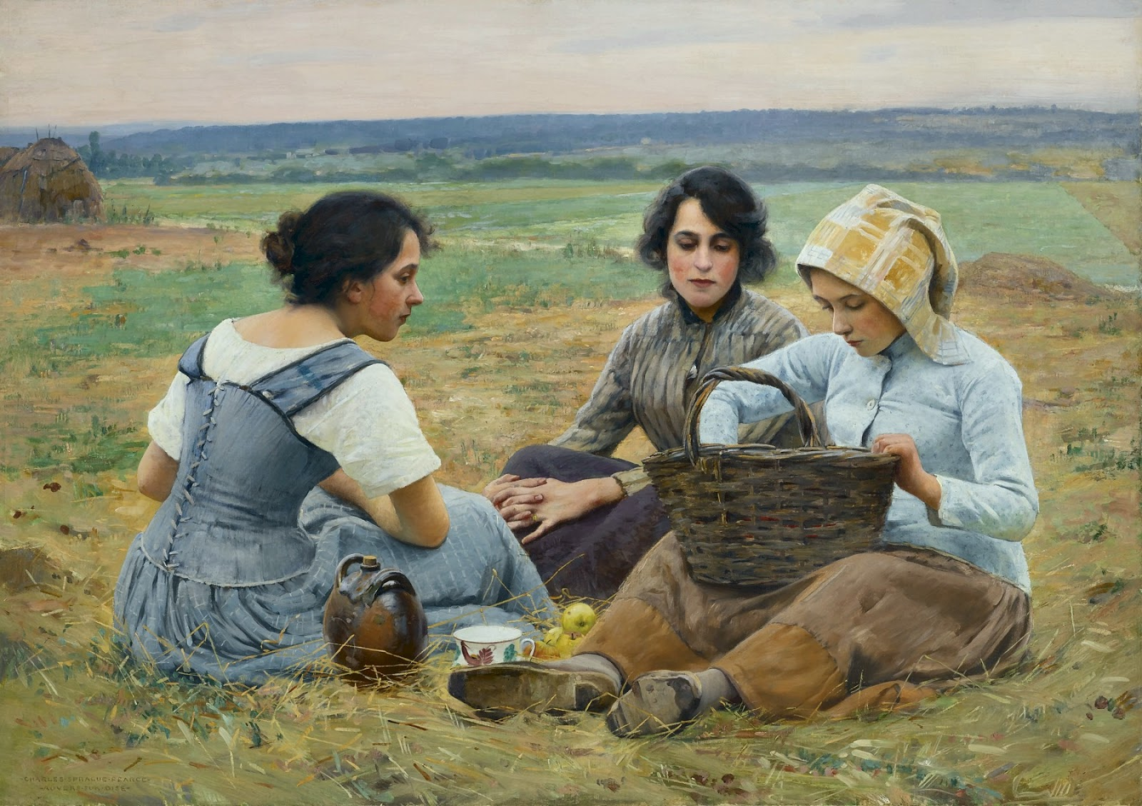 Charles  Sprague  Pearce  lunch  break  in  the  fields