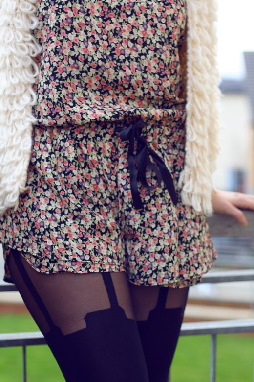 suspender tights, pretty polly, suspender, floral playsuit, flower jumpsuit, fluffy cardigan