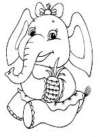Funny Elephant Kids Coloring Sheet