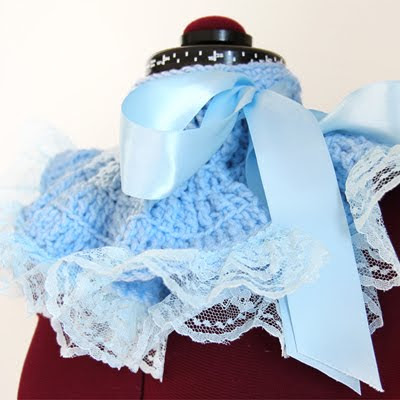 Alice in Wonderland Fashion Neck Warmer by Mademoiselle in Light Blue