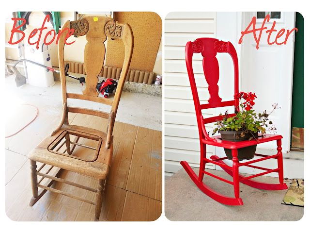 Front Porch Rocking Chair Plant Holder - www.thelifeofawannabesupermom.blogspot.com