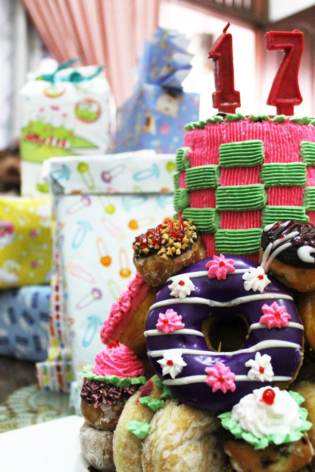 BELAS 17TH PRETTY DUNKIN DONUTS BIRTHDAY CAKE