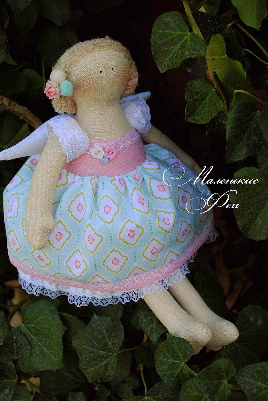 doll, tilda, handmade, gently, blue, pink, ivy, fairy,