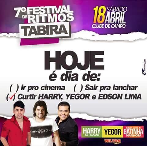 NESTE SÁBADO TEM O 7º FESTIVAL DE RITMOS EM TABIRA