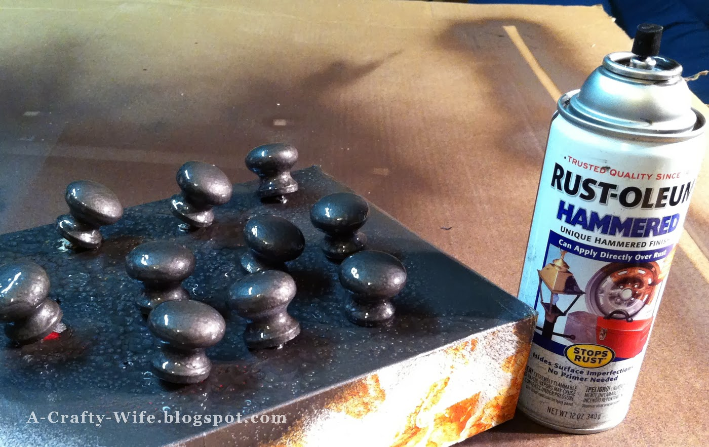 Spray paint Ikea wooden knobs with Rustoleum hammered finish | A Crafty Wife