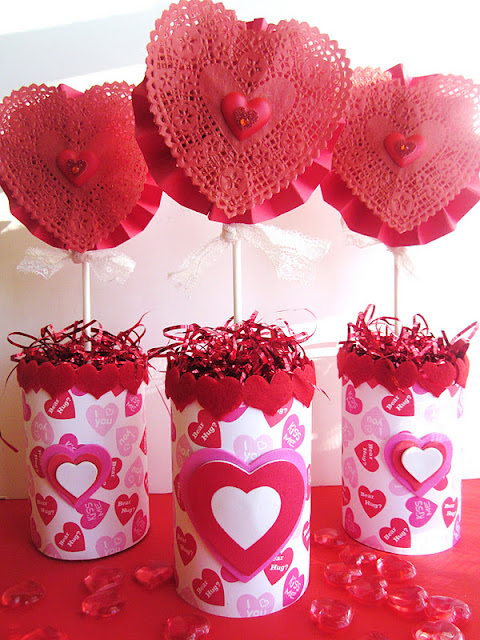 Homespun with love quot can of hearts valentine s centerpiece