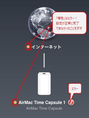 設定エラー時のAirMac ユーティリティ