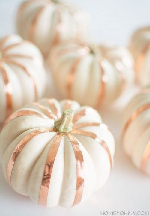 Pretty rose gold decorated white pumkins