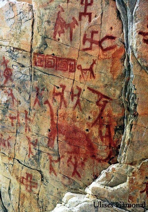Dioses Pinturas+rupestres+en+Utcubamba_Peru1