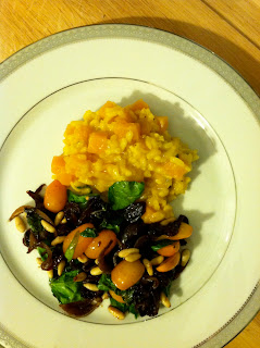 Vegan butternut risotto and warm spinach salad