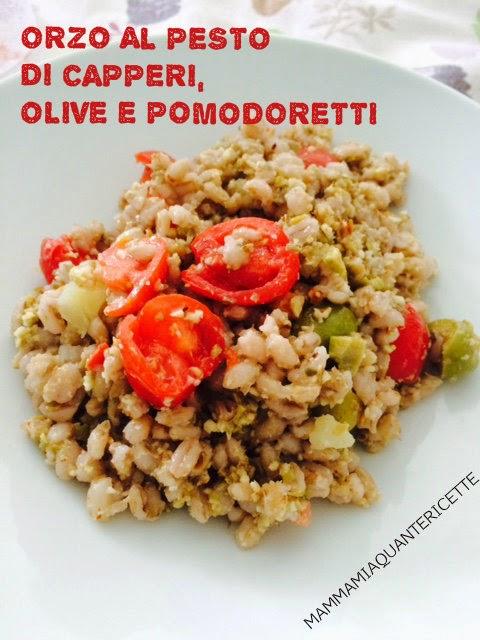 orzo al pesto di capperi, olive e pomodoretti