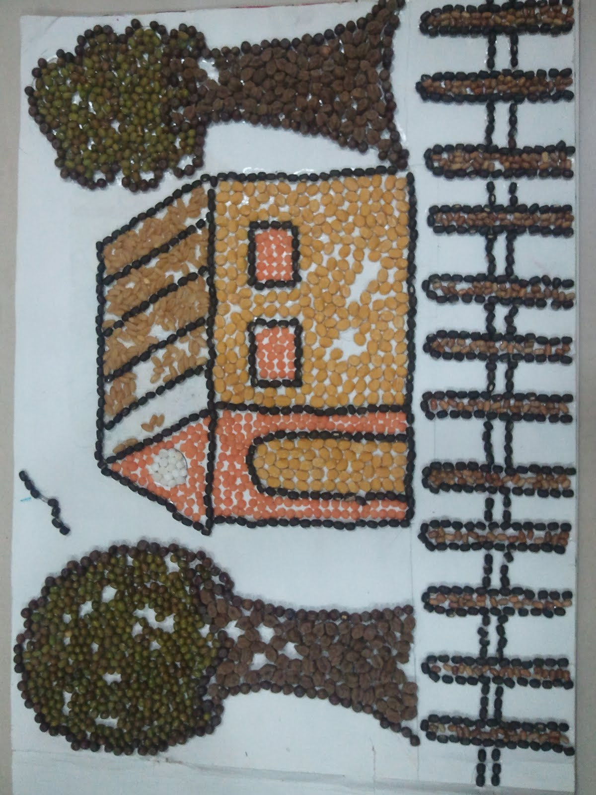dishi s art and craft art with grains and pulses