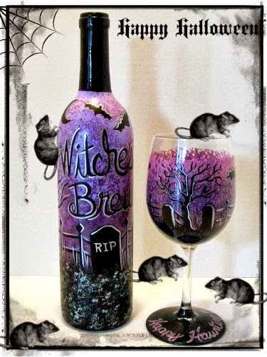 Hand painted Halloween glassware